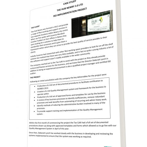 CASE STUDY THE HUB NEWRY 2.0 LTD ISO IMPLEMENTATION PROJECT